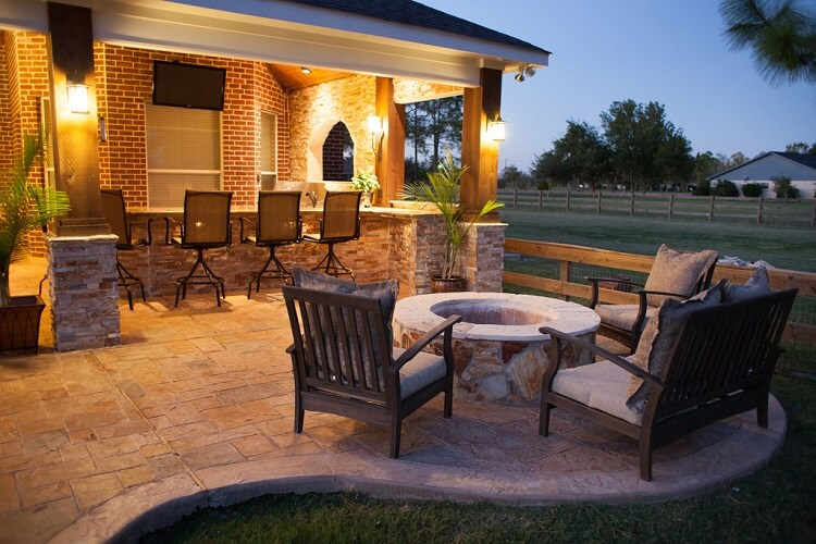 Stone fire pit with chairs