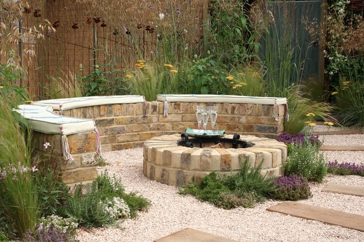 Wild natural design with stone fire pit