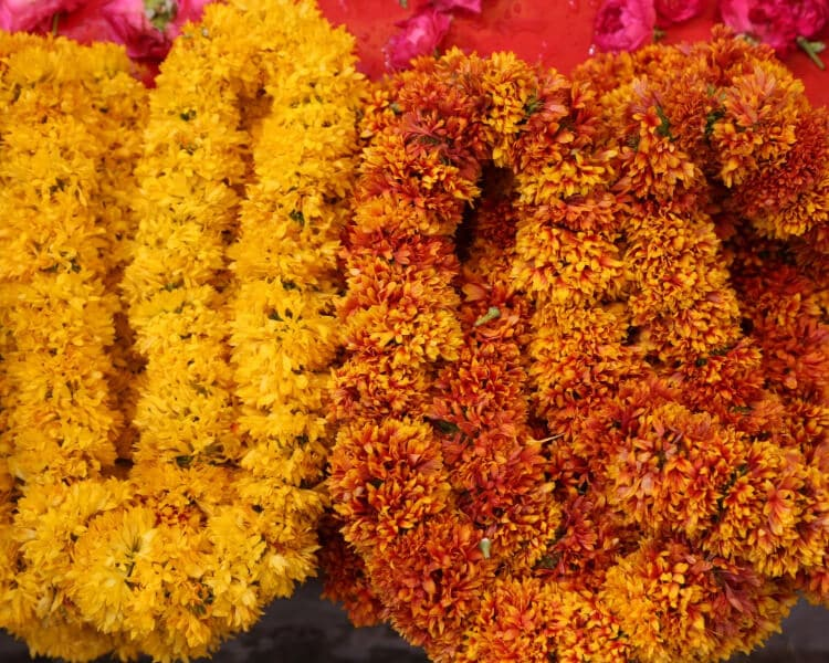 Orange and yellow flower decorations