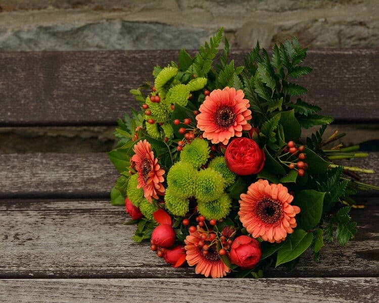 Wedding bouquet with autumn flowers seen from above