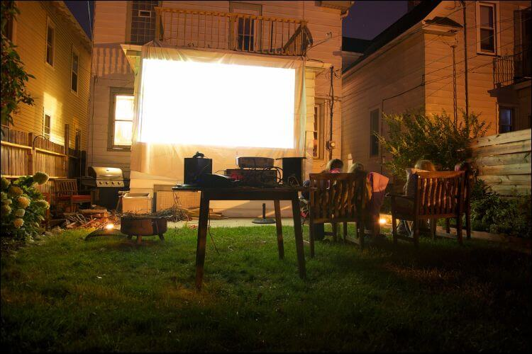 Backyard cinema lit up