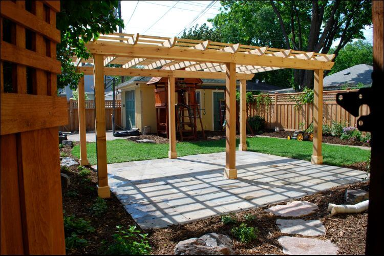 Backyard light color pergola