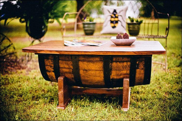 DIY table made of a half a barrel