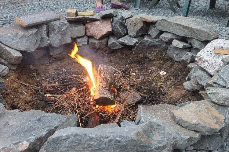 DIY fire pit made of stones