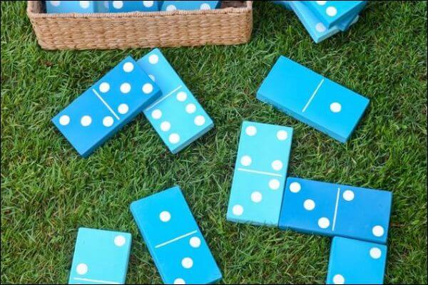 Giant blue pieces of dominoes
