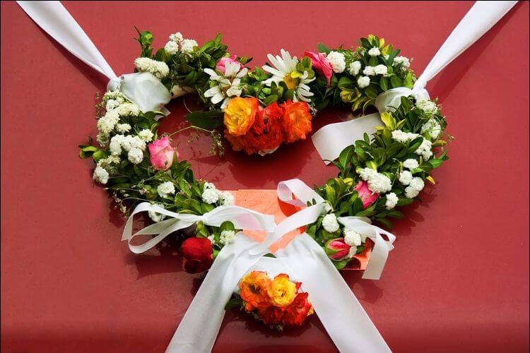 Colorful wreath shaped like a heart