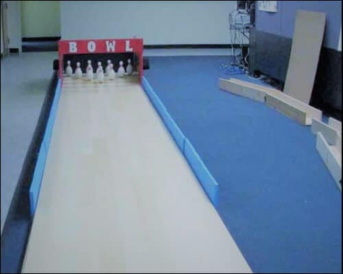 Indoor bowling alley made of wood