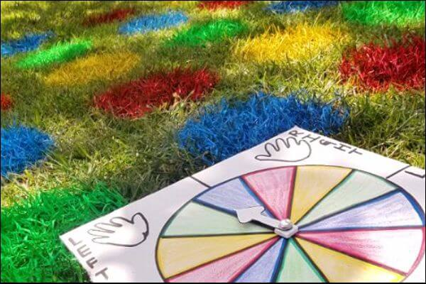 Lawn Twister game painted on the grass