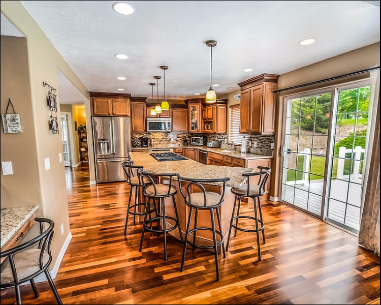 sun porch furniture ideas, Sun porch turned into kitchen with hardwood floor and dining set