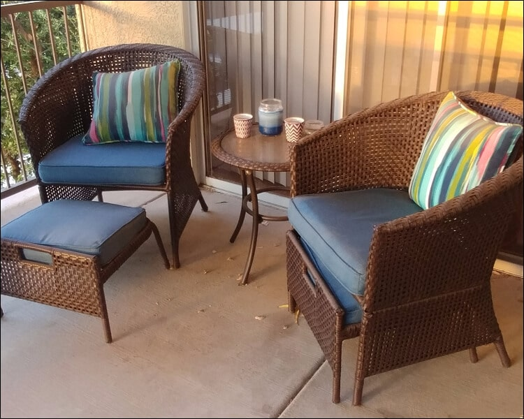 Rattan set with cushions placed on sun porch, sun porch furniture ideas
