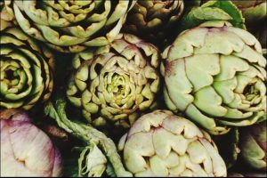 Pile of artichokes seen from above