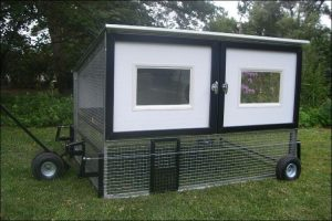 Customized black and white chicken coop, placed on wheels