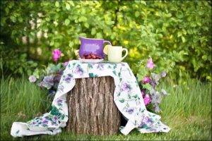 Garden decor with a mug, a jug, and a plate with chestnuts, placed on a table cloth, on a tree stump, against a background of hydrangeas and greenery