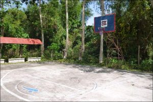Rudimentary basketball court in the backyard with a concrete foundation, simple lines and a hoop