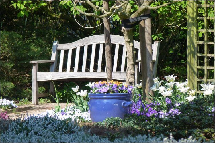 Wooden on a wooden bench placed in a garden with a trees landscape