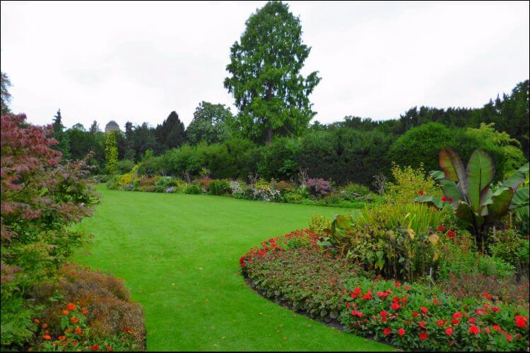 Winding paths with flowers, placed next to green lawn in a tree garden landscape