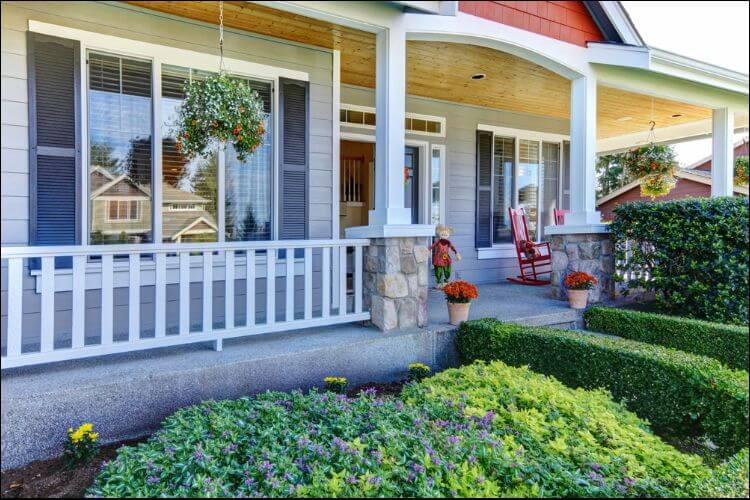 landscaping ideas for front porch side view of a porch with a bushy pathway