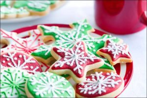backyard Christmas party colorful Christmas cookies