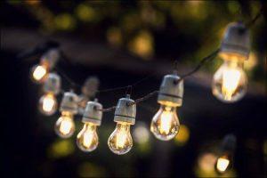 backyard Christmas party string lights