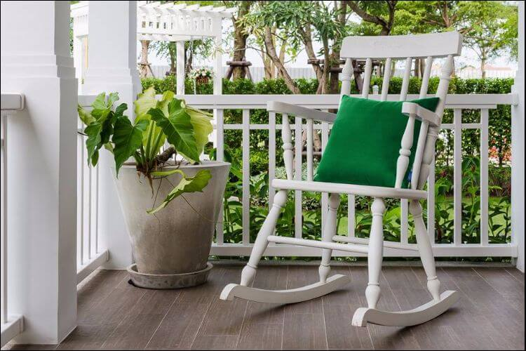 landscaping ideas for front porch rocking chair and flower pot