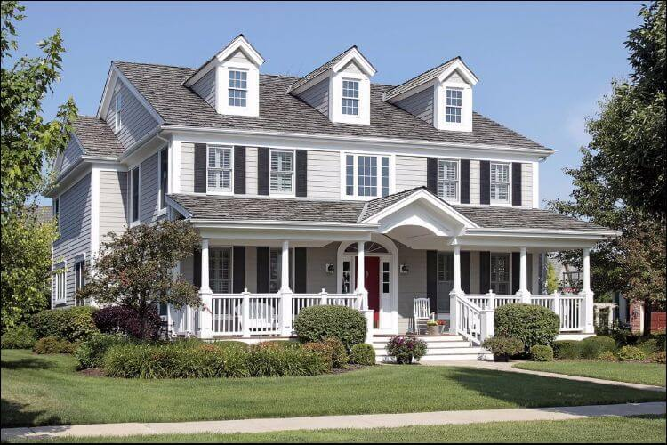landscaping ideas for front porch classic American style house with front porch and lawn