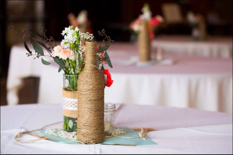 winter wonderland wedding centerpieces string bottle