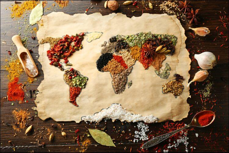spices to grow indoors world map made of different spices on wooden background