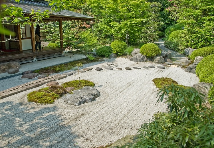 Sand garden with low-maintenance plants
