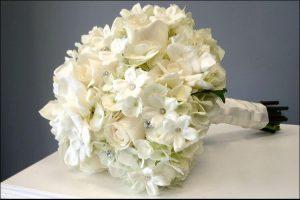 close up of a bouquet of gardenias