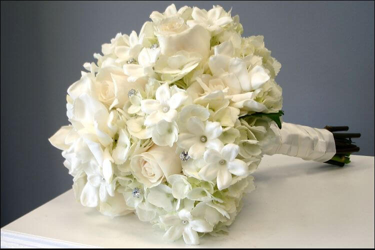 close up of a bouquet of gardenias