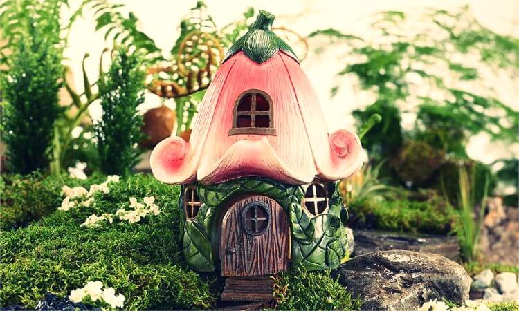 pink magical fairy house in the garden