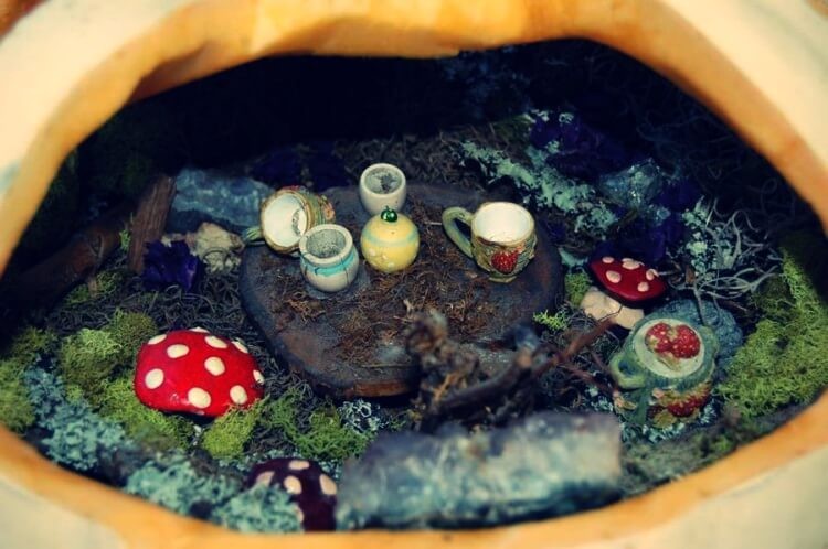 Fairy house interior with mushrooms and other decorations