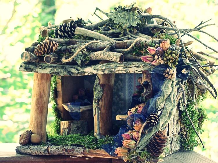 Close up of a wooden fairy house