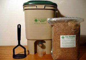 Bokashi set with bin, bran, and spatula