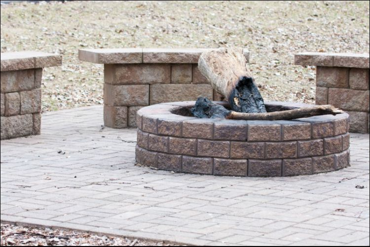 landscaping with boulders boulder fire pit