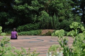 Woman sitting in a pavement labyrinth