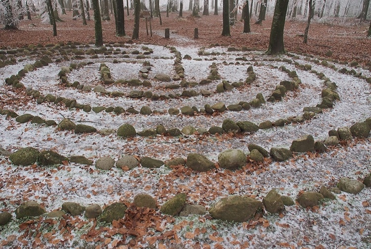 Labyrinth in a forest during winter
