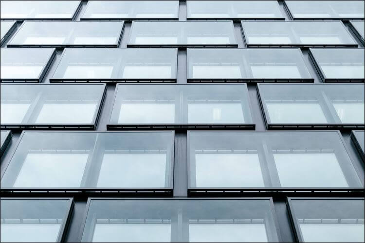 close up of symmetrical glass panel windows