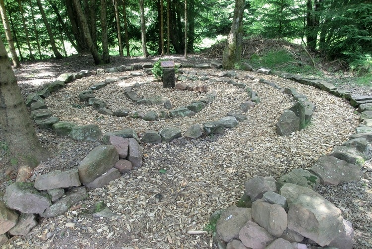 Stone labyrinth built in a forest