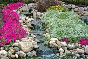 landscaping with boulders rock garden waterfall