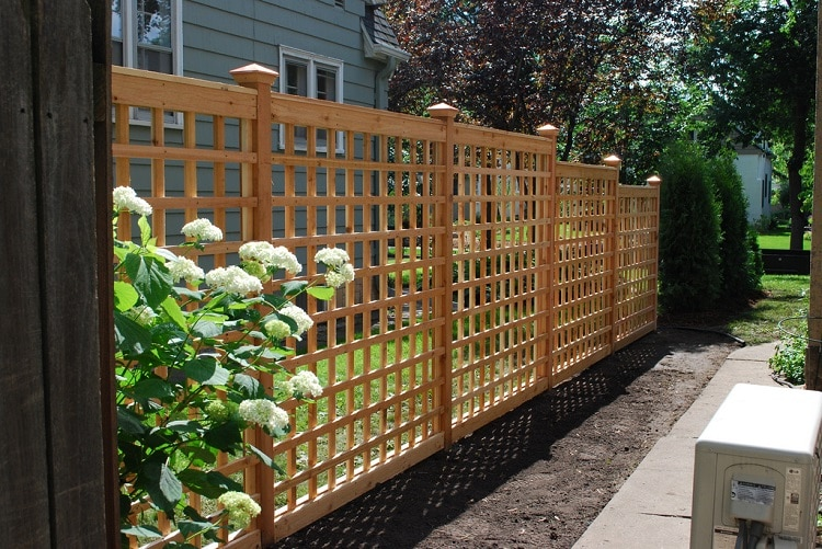 Lattice panels surrounding a garden