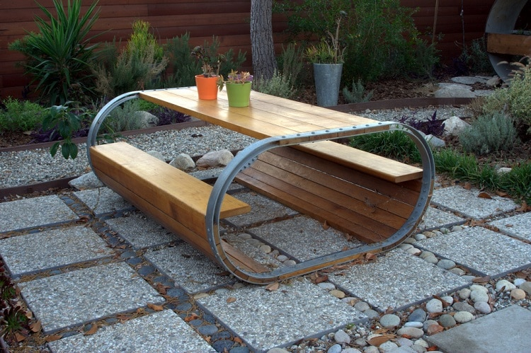 Wine barrel table in a backyard
