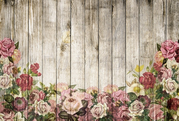 Roses painted on a wooden wall, wedding flower wall