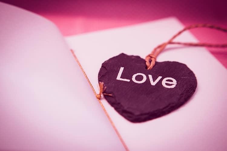 Purple heart on a greetings card