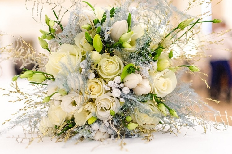 spring flowers for weddings, White wedding bouquet with some green buds in it
