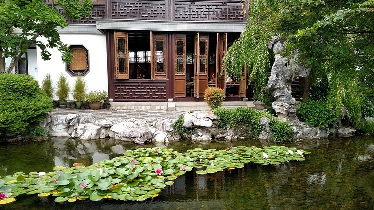 Pond covered by water lilies next to a Chinese-style building