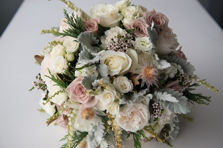 Wedding bouquet with white and pastel flowers