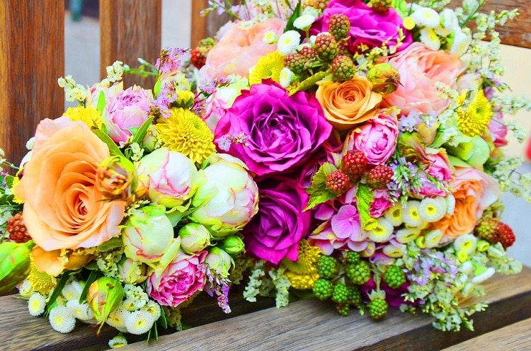 Bouquet of flowers in bold colors
