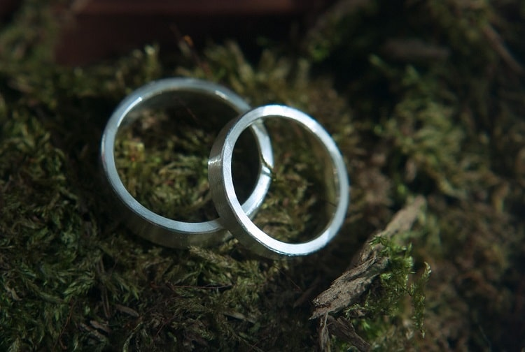 Wedding rings placed on a moss bed
