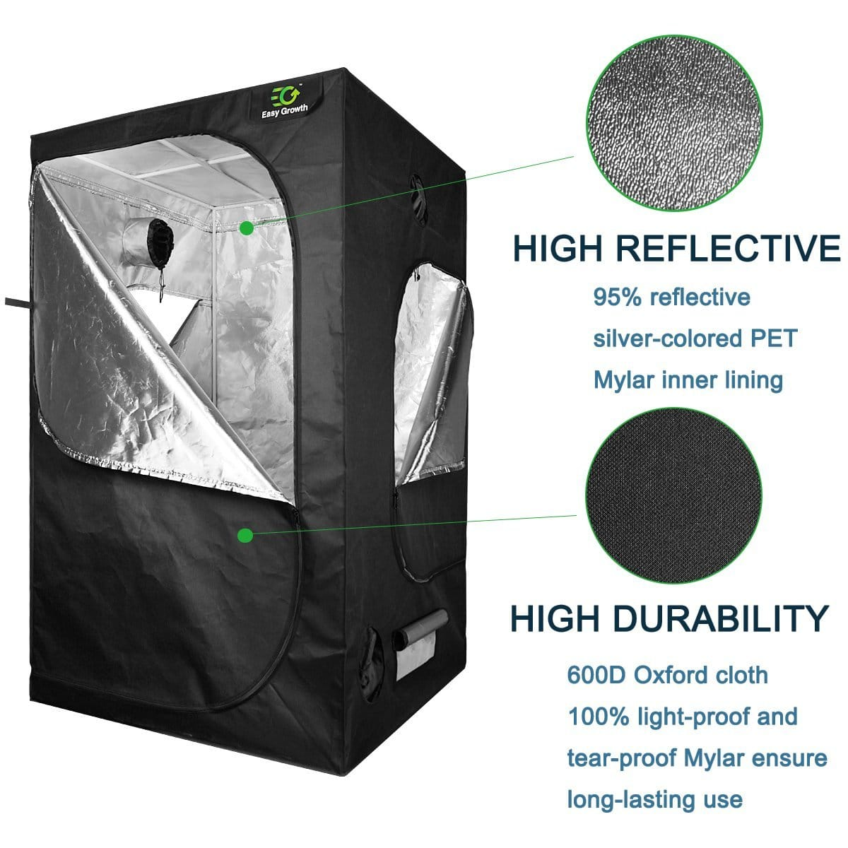 EasyGrowth Reflective Mylar Hydroponic Grow Tent